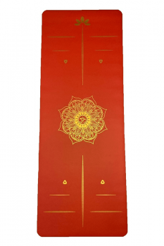 Rubber Yoga-Pilates Mat Golden Line 5mm Mandala Kırmızı