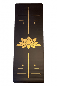 Yogatime Rubber Yoga-Pilates Mat Golden Line 5mm Lotus Siyah